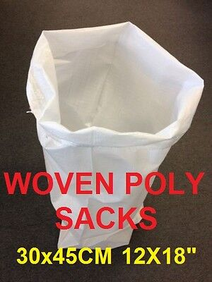 100 Woven Polypropylene Sacks Strong Builder Rubble sand Bag Size 30x45cm 12X18