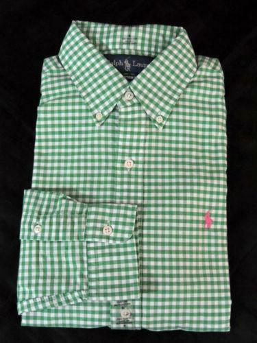 Gingham shirt ebay for Mens yellow gingham shirt