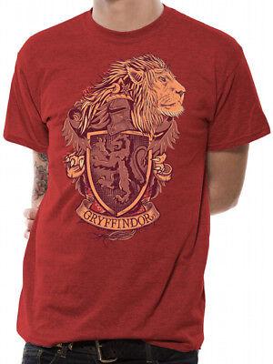 Harry Potter Gryffindor Crest Distressed Hogwarts Logo Red Mens T-shirt