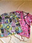 1X Size Patterned Scrub Tops