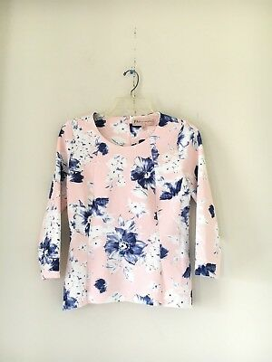 PHILOSOPHY REPUBLIC CLOTHING BLUE PINK CREAM FLORAL WOMEN SEXY BLOUSE TOP SIZE S Blue Cream Clothing