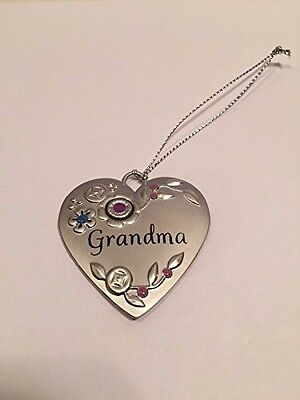 "Hallmark Christmas Ornament Metal Heart Flowers ""Grandma"""
