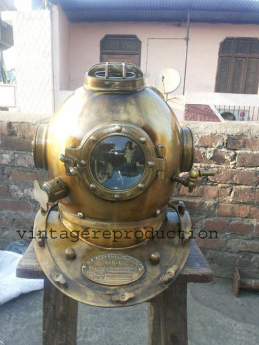 Antique Scuba SCA Divers Diving Helmet US Navy Mark V Deep Sea Marine Diver Gift