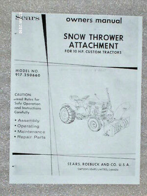 917.250660- Sears Custom Tractor- Snow Thrower Owners Manual On Cd