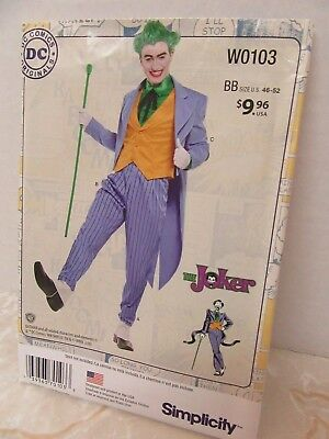 Simplicity Uncut Halloween Costume Pattern DC Comics The Joker Mens 46-52 - Joker Halloween Costume Pattern