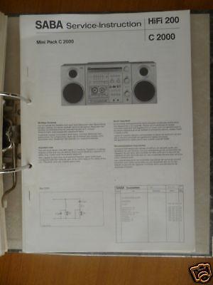 Servicio-Instrucción Saba C 2000 Radio Grabadora, Original segunda mano  Embacar hacia Mexico