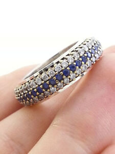 925 Sterling Silver Sapphire Band Ring Size 9 Cambridge Kitchener Area image 1