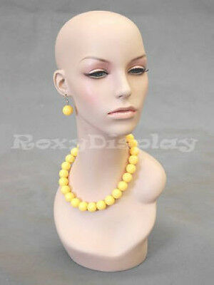 Female Fiberglass Mannequin Head Wig Hat Earrings Necklace Display MD-EVENLYHD