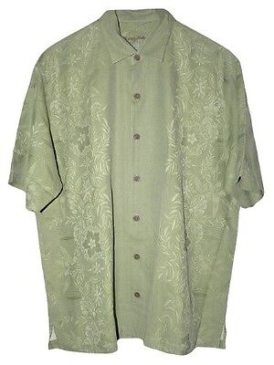 Coconut Point - Tommy Bahama Coconut Point T32670 Martini Olive Green Silk Camp Shirt Sz Medium