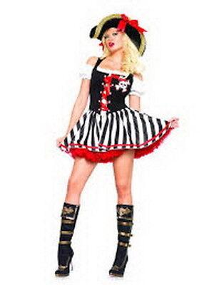 Piraten Kostüm Sexy Damen Piraten Stiefel Babe Blk / Weiß / Rotes Kleid L/XL ()