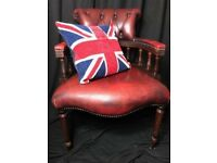 Leather Chesterfield Style Handmade Captains Office Chair Oxblood