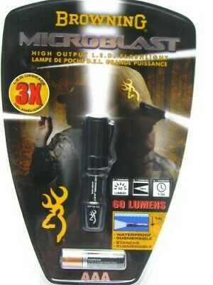 Browning 2114 Black Microblast AAA LED Compact Flashlight Light + Clip -