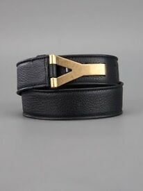 Authentic Yves Saint Laurent Y Gold Buckle Calf Leather Dark Brown Belt New 32 RRP £495