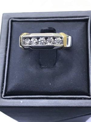 1.25 Ct Diamond 14K White Gold Fn Five-Stone Engagement & Wedding Men's Ring 14k Gold Five Stone