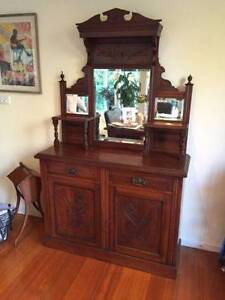 Antique Edwardian Walnut SideBoard Camberwell Boroondara Area Preview