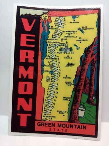 Vermont Vintage Style Travel Decal / Vinyl Sticker, Luggage Label