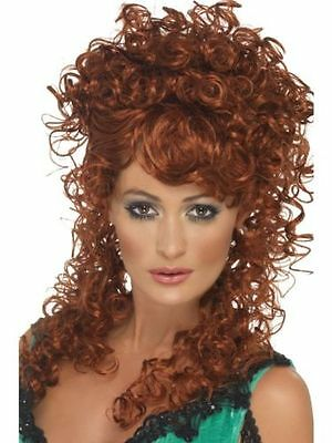 Women's Saloon Bar Western Cow Girl Curly Auburn Fancy Dress Wig Hen Theme Fun (Western Themen Fancy Dress Kostüm)