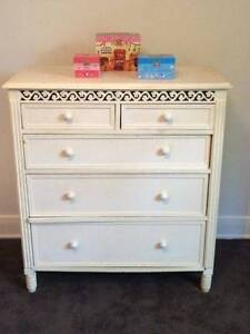 Vintage white Chest of Drawers Tallboy Watsonia Banyule Area Preview