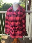 PINK Plaid Synthetic Coats, Jackets & Vests for Women