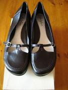 Ladies Flat Black Shoes Size 8