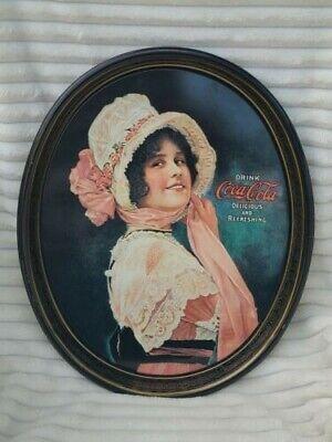 Metal Coca Cola Platter Oval Antique Vintage 1972 Betty Girl 1914 Memorabilia