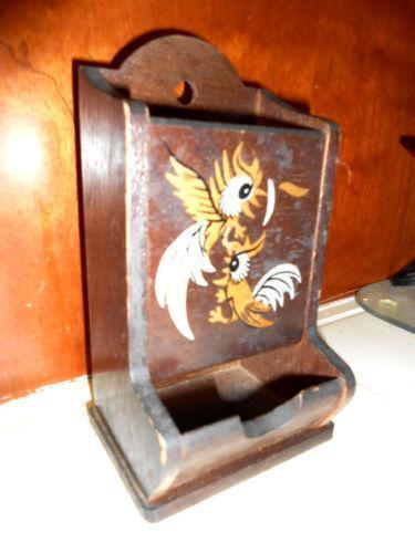 Vintage Wooden Match Holder Ebay