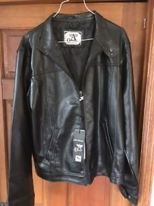 ARMANI BLACK LEATHER JACKET, NEW WITH TAGS, LARGE