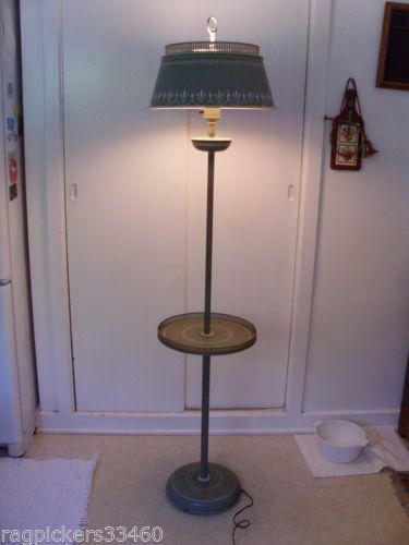 Antique floor lamp shade ebay for Vintage floor lamp with metal shade