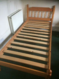 PINE SINGLE BED ( EXCELLENT CONDITION)