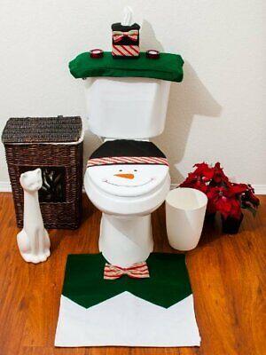 3pcs Christmas Santa Bathroom Toilet Seat  Lid Cover SnowMan Bathroom Set Xmas ()