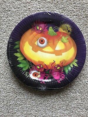 Halloween Gruselig Kürbis Papier Essteller Packung 8 23cm - Halloween Papier Platten