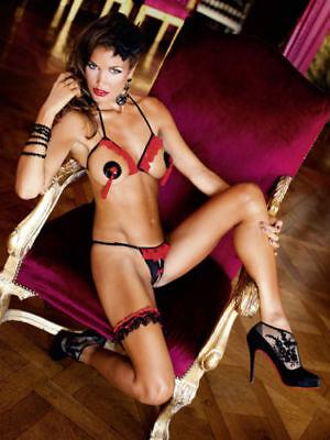 Sexy Stylish & Seductive Baci Lingerie 2 PC Show Me Bikini Set Black/Red O/S](Show Me Lingerie)