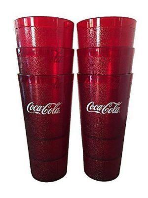 Coca-Cola Cups, Red Plastic Tumbler 24-Ounce Restaurant Grade, Carlisle, 6 Pack
