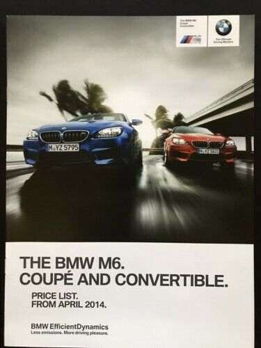 BMW M6 - ORIGINAL UK PRICE LIST BROCHURE 2013 M Coupe M Convertible
