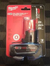 Milwaukee 48-11-2440 M12 RedLithium-Ion 4.0 Ah 12V XC Battery new in Pack