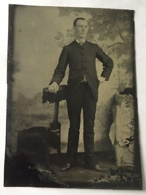 Vintage Tintype Photo Victorian Man in suit standing leaning on prop - Photo Stand In Props