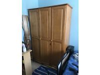 pine 3 door triple wardrobe with shelves and hanging rail
