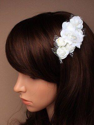 White Rose Glitter Net Hair Flower Accessory Bridesmaid Weddings Beak Clip