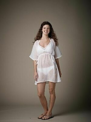 - Mud Pie Butterfly Tunic Blouse Top Swimsuit Beach Cover-Up White Cotton S/M NWT