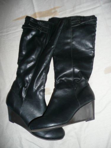 black wedge heel boots size 6 ebay
