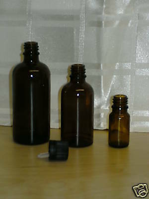 24  100ml Empty Amber Glass Bottle Integral Dropper Cap