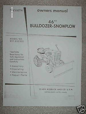 917.253331-sears Tractor- 46dozersnow Blade Owners Manual On Cd