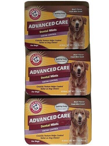 Arm & Hammer Advanced Care Dog Dental Mints 40 Ct Tartar Control Beef-Lot Of 3