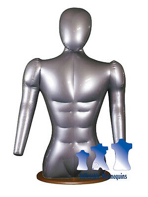 Inflatable Male Torso With Head And Arms Silver And Wood Table Top Stand