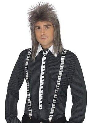 Men's Piano Keyboard Tie Braces Set 70's 80's Fancy Dress Fun Accessory One Size