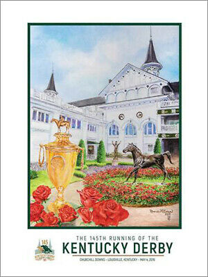 145th KENTUCKY DERBY at Churchill Downs 2019 Horse Racing OFFICIAL POSTER Print