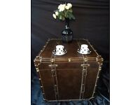 Victorian Antique Style Tan Leather Steamer Travel Chest Trunk Box Coffee Table
