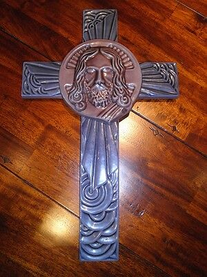XL VINTAGE JUGENDSTIL GLOSS ENAMEL PRIESTS WALL ALTAR CHURCH CRUCIFIX