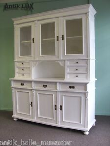 restauriertes buffet im landhausstil shabby chic weiss weichholz vitrine schrank ebay. Black Bedroom Furniture Sets. Home Design Ideas