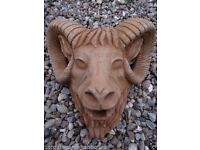 Antique Wall Spout Plaque English Stone Rams Animal Bust Garden Fountain Mask